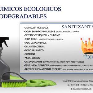 Químicos ecológicos biodegradables sanitizantes